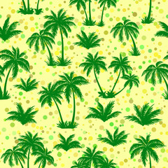 Exotic Seamless Pattern, Tropical Landscape, Palms Trees Green Silhouettes on Abstract Tile Background. Vector