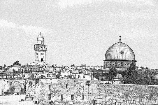 Omar Mosque on Temple Mount, Old City Jerusalem, Israel