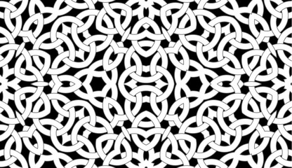 Seamless pattern with celtic knot ornament of black, gray, and white shades