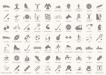 Set of sport icons in flat design with shadows. Vector illustration