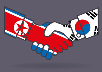 Corée - Corée du nord - Corée du sud - drapeau, politique - poignée de main - paix - guerre