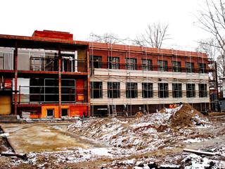 Construction of industrial building facade metal elements