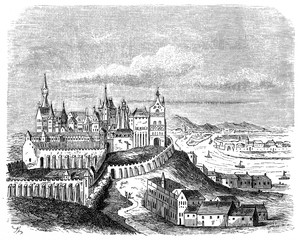 Hungarian town Buda (today half of Budapest) in the Nuremberg Chronicle, 1493 (from Spamers Illustrierte  Weltgeschichte, 1894, 5[1], 356)