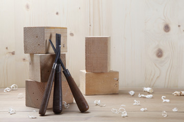 conceptual image of wooden cubes in a sculptor's studio