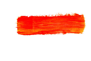 Gelb Orange rot Wasserfarben muster Pinselstrich isoliert freigestellt auf weißen Hintergrund, Freisteller