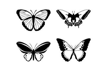 Butterfly icon on white background. Set of butterflies, isolated on white, collection of silhouettes,