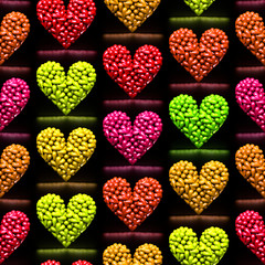 Seamless pattern of rows of colored hearts made of small hearts