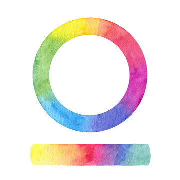 Hand painted vector color wheel and gradient stroke isolated on the white background.