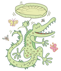 Happy crocodile dancing with a water lily for umbrella