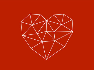 Schematic heart on red background
