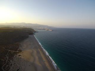 La playa de los Muertos, playa de Cabo de Gata en la costa de Almería (Andalucia,España),situada en el municipio de Carboneras.Fotografia aerea con drone