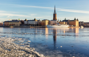 Riddarholmen island in Stockholm city on a sunny winter day.