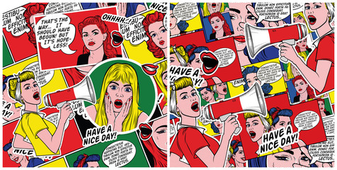 Retro comic book background. Pop art background. Pin up women with speech bubbles.