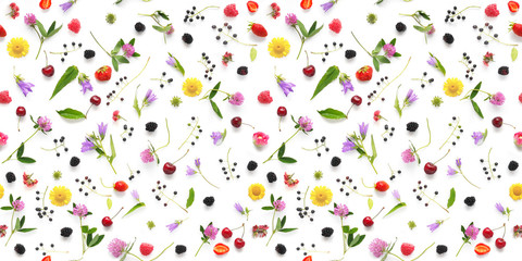 Seamless pattern from plants, wild flowers and  berries, isolated on white background, flat lay, top view. The concept of summer, spring, Mother's Day, March 8.