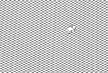 silhouette of hole fishing net isolated on white background