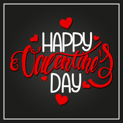 """""""Happy Valentine's day"""" card design with little red hearts. Handwritten calligraphy text. Vector holiday illustration on a black background."""