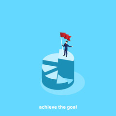 a man in a business suit with a flag in his hand is standing on top of the chart, an isometric image