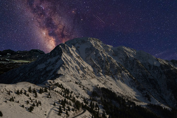 Milky Way above the snow-covered mountain