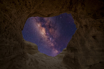 Milky Way seen from inside a cave