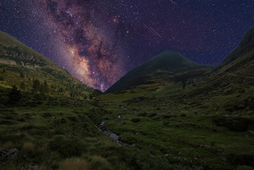 Milky Way above the mountain in spring