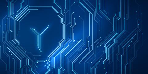 Background conceptual image of digital chip lightbulb on blue circuit mesh. Bright technology idea.