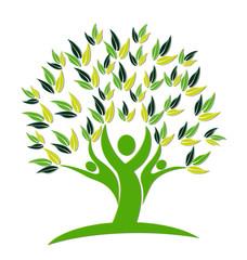 Tree teamwork people logo vector