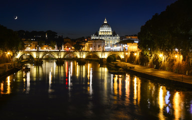 Evening view of Tiber with Saint Peter's Basilica in the background, Rome, Italy