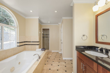 Modern bathroom interior with black granite counter tops and oval sink.