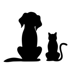 silhouette of a dog and a cat on a white background
