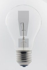 Light bulb with a exclamation mark.