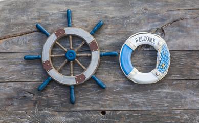 old ship's wheel