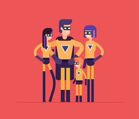 Superheroes family - modern flat design style isolated illustration