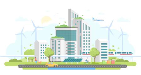 Eco-friendly housing complex - modern flat design style vector illustration