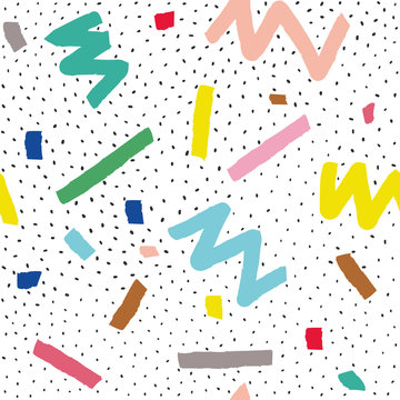 Hand drawn vector seamless pattern in memphis style with colorful stripes, zigzag and blobs on white background