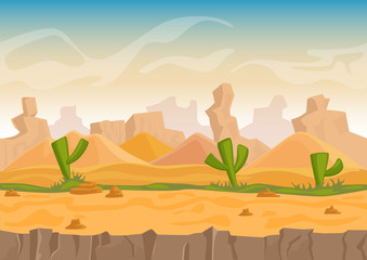 Cartoon sand and stone rocks desert landscape with cactuses and stone mountains. Vector game style vector illustration