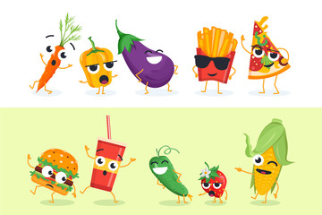 Funny vegetables and fast food - set of vector characters illustrations