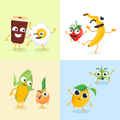 Funny food characters - set of modern vector illustrations