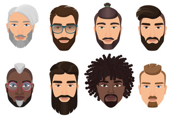 Colorful cartoon hipsters bearded men guys avatars with different hairstyles, beards and mustaches isolated.