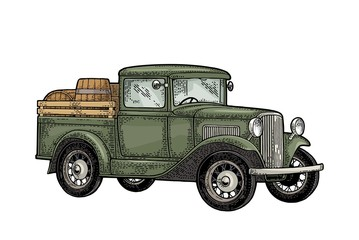 Retro pickup truck with wood barrel. Side view. Vintage color engraving