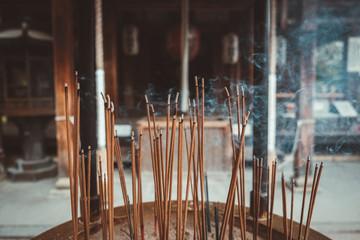 Sticks moldering in temple
