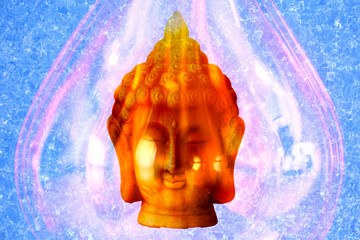 The image of a buddha figure on a blue background
