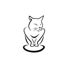 Cat simple line art vector illustration