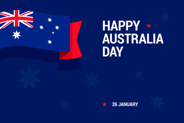Happy Australia Day celebration card with national flag for print or mobile using.