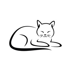 Cat simple line art vector illustration