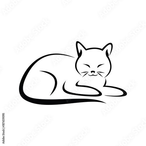 Simple Cat Lineart : Quot cat simple line art vector illustration imágenes de