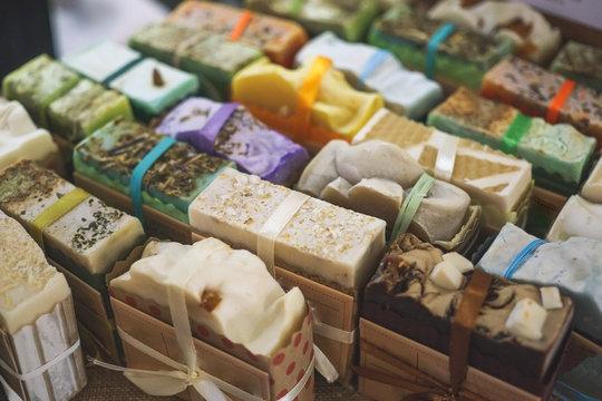 Handmade natural eco soap, selective focus
