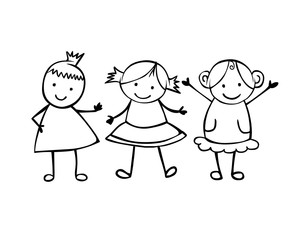 Friends. 3 girls. Little people in the children's style