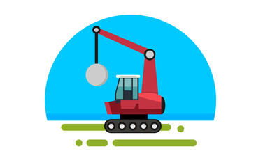 Flat red crane with wrecking
