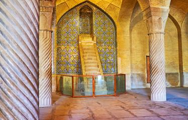The medieval minbar of Vakil Mosque, Shiraz, Iran