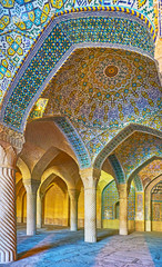 The tiled patterns of Vakil Mosque, Shiraz, Iran